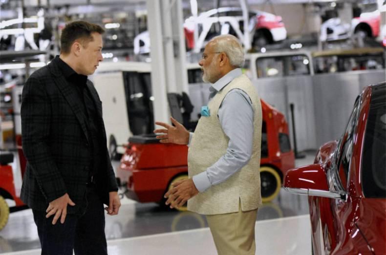 Elon Musk a premiér Indie - Narendra Modi