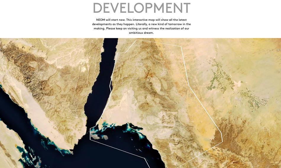 Snímka z internetovej stránky projektu NEOM, ktorá zobrazuje predpokladané umiestnenie a veľkosť mesta budúcnosti.
