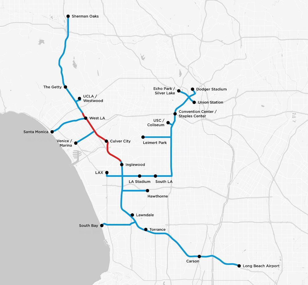 Červená časť predstavuje testovací tunel. Modré časti predstavujú potenciálne rozšírenie podzemného tunelového systému v prípade, že bude vhodný na prepravu osôb.