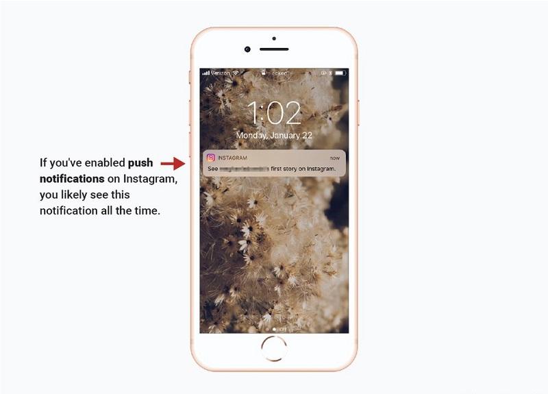 Push notifikácia aplikácie Instagram.