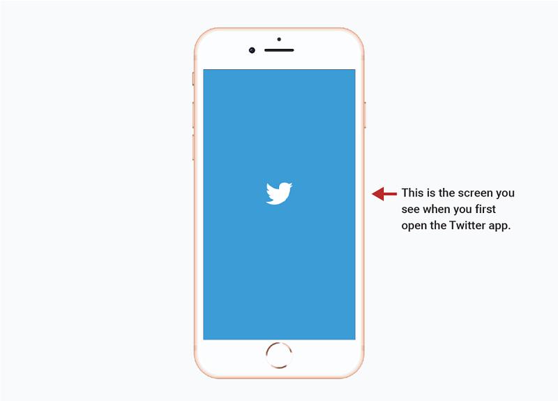 Obrazovka pri prvom otvorení aplikácie Twitter.