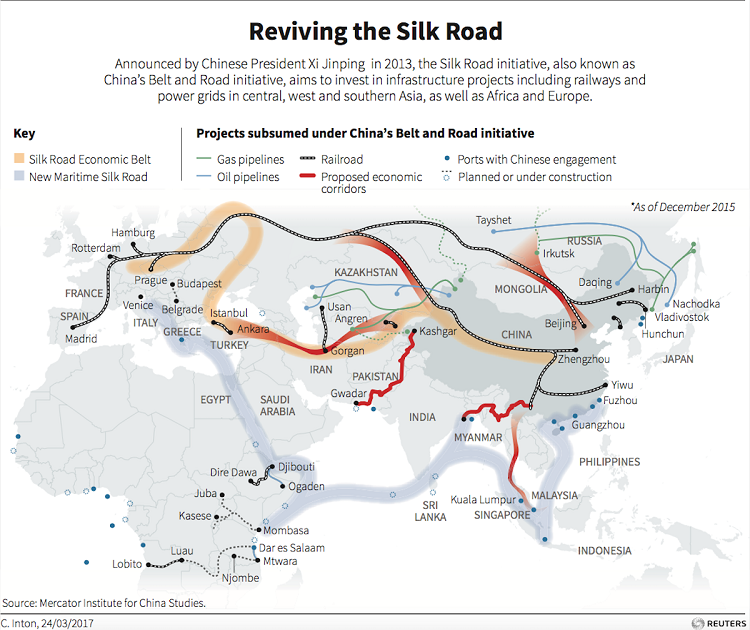 Mapa zobrazujúca jednotlivé čiastkové projekty iniciatívy Jedno pásmo, jedna cesta. Údaje zahrnuté v diagrame pochádzajú z decembra roku 2015.