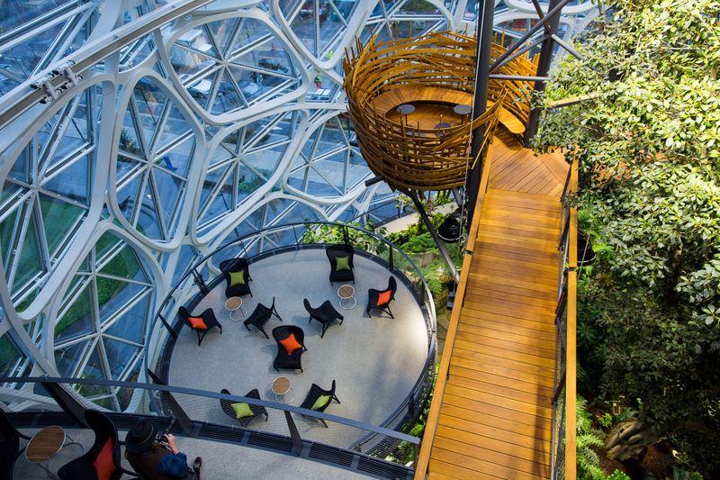 """Priestor na stretnutie zvaný """"hniezdo"""". Vo vnútri sídla Amazonu v Seattli."""
