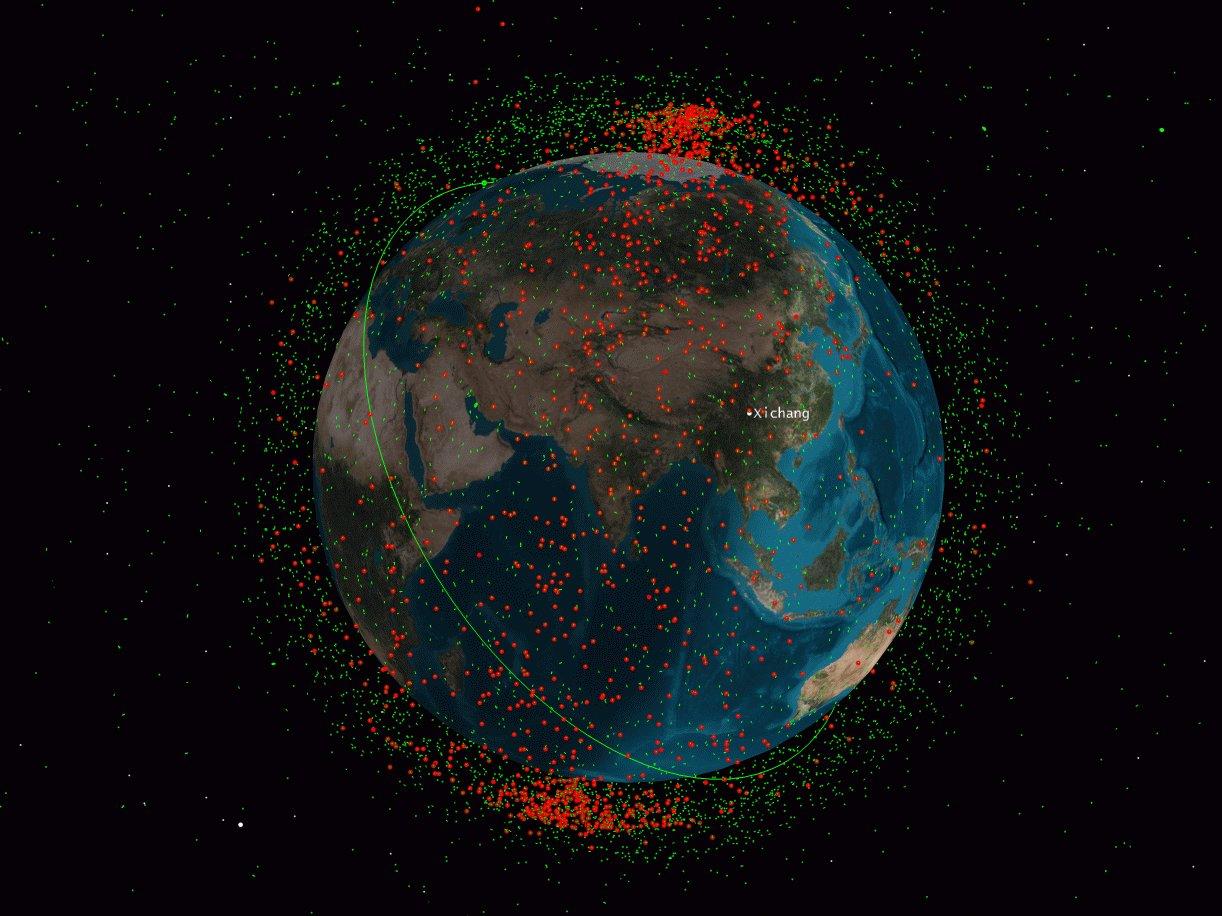 Čína zničila svoj vlastný satelit FY-1C v roku 2007 a vytvorila nespočetné množstvo vesmírneho odpadu, ktoré je zobrazené ako červené bodky. Zelené body zobrazujú satelity na obežnej dráhe Zeme. Zdroj: Celestrak/Analytical Graphics.