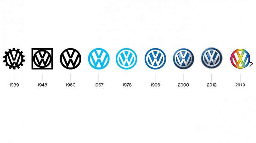 Zmena loga automobilky VW.