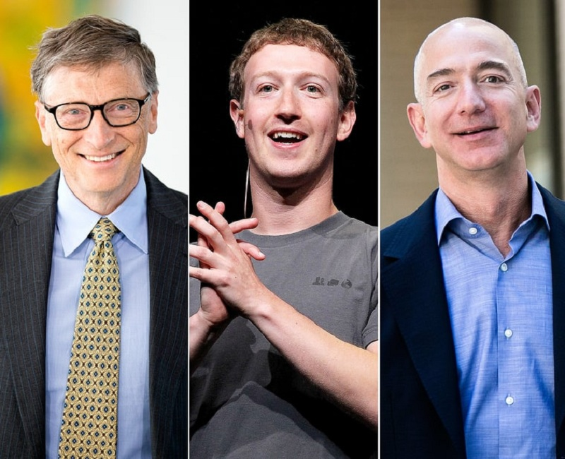 Bill Gates, Mark Zuckerberg a Jeff Bezos.