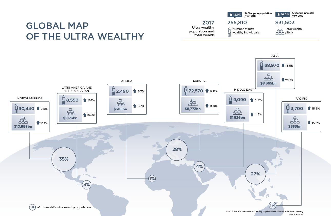 Pre zväčšenie kliknite na mapu spoločnosti Wealth-X.