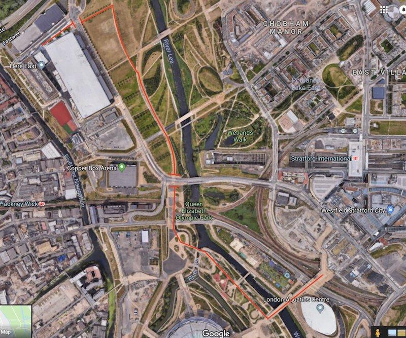 Cesta spoločnosti Bird. Bird/Mapy Google.