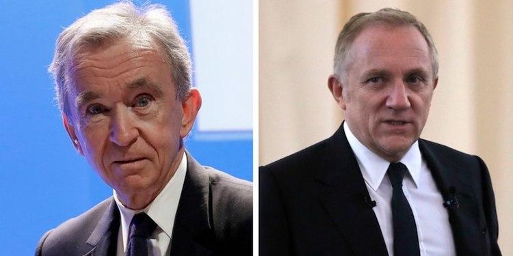 Generálny riaditeľ LVMH Bernard Arnault (vľavo) a Francois-Henri Pinault, generálny riaditeľ luxusnej skupiny Kering.
