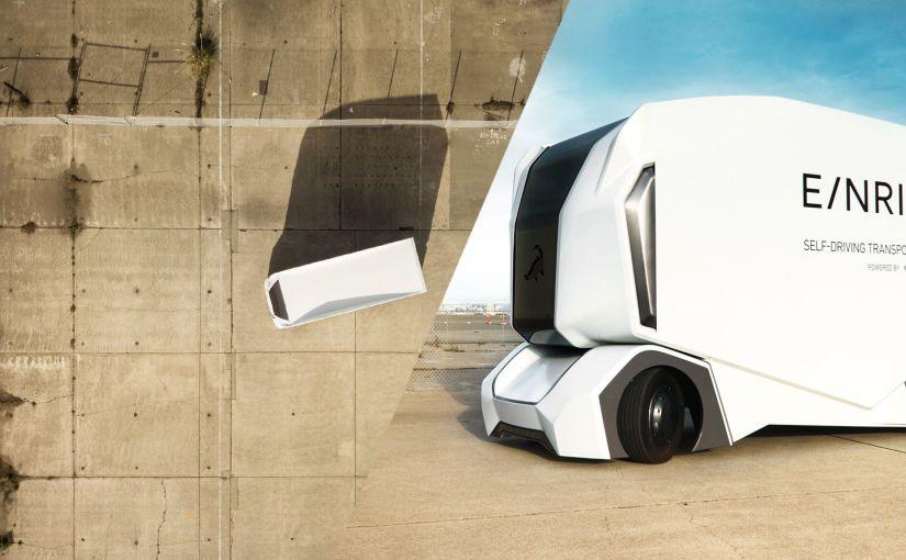 """OBR Elektrický kamión T-Pod"""" s vlastným pohonom je v súčasnosti testovaným v priemyselnej zóne, vo Švédsku."""