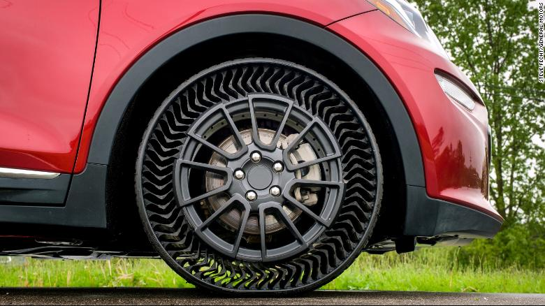 The Michelin Uptis Prototype is tested on a Chevrolet Bolt EV Wednesday, May 29, 2019 at the General Motors Milford Proving Ground in Milford, Michigan. GM intends to develop this airless wheel assembly with Michelin and aims to introduce it on passenger vehicles as early as 2024. (Photo by Steve Fecht for General Motors)