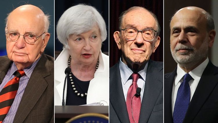 Paul Volcker, Alan Greenspan, Ben Bernanke and Janet Yellen,