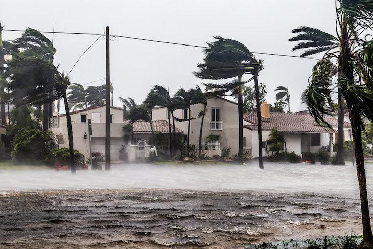 Zaplavené domy po hurikáne Irene.