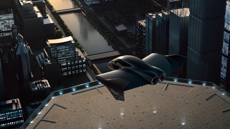 Umelecké vyobrazenie možnej verzie elektrického lietajúceho automobilu, na ktorom Porsche a Boeing plánujú spolupracovať na vývoji.