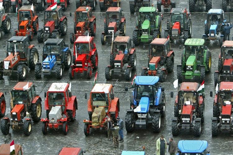 Protesty farmárov v Maďarsku.