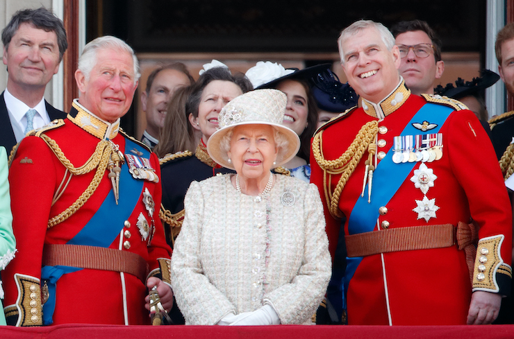LONDON, UNITED KINGDOM - JUNE 08: (EMBARGOED FOR PUBLICATION IN UK NEWSPAPERS UNTIL 24 HOURS AFTER CREATE DATE AND TIME) Prince Charles, Prince of Wales, Queen Elizabeth II and Prince Andrew, Duke of York watch a flypast from the balcony of Buckingham Palace during Trooping The Colour, the Queen's annual birthday parade, on June 8, 2019 in London, England. The annual ceremony involving over 1400 guardsmen and cavalry, is believed to have first been performed during the reign of King Charles II. The parade marks the official birthday of the Sovereign, although the Queen's actual birthday is on April 21st. (Photo by Max Mumby/Indigo/Getty Images)