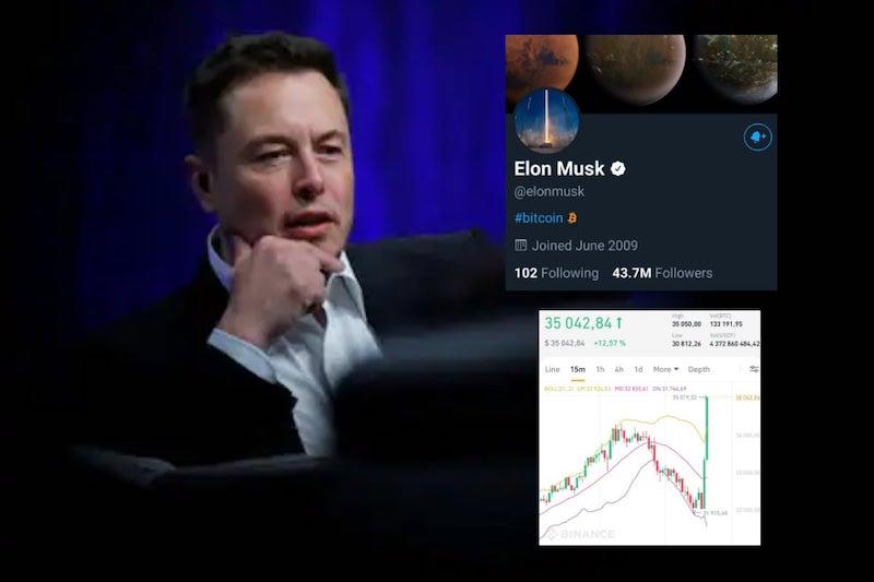 Elon Musk mal tentokrát vplyv na rast ceny Bitcoin.