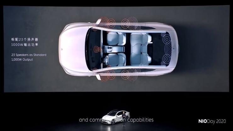 Sedan modelu Nio ET7 má laminovanú celopresklenú strechu, vyhrievané sedadlá v oboch možnostiach a 23 reproduktorov.