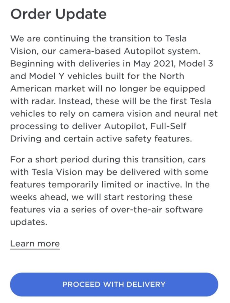 Aktualizácia objednávky pre zákazníkov spoločnosti Tesla, ktorí prevzali dodávku modelu 3 alebo modelu Y v máji 2021.