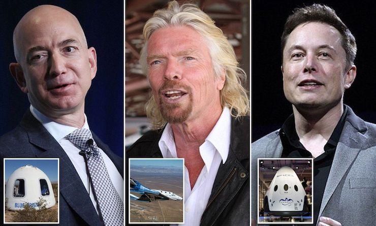 Jeff Bezos, Richard Branson a Elon Musk.